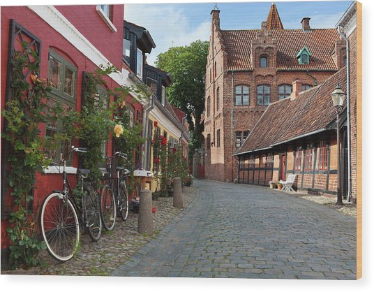Cobblestone Alley In The Old Town Wood Print