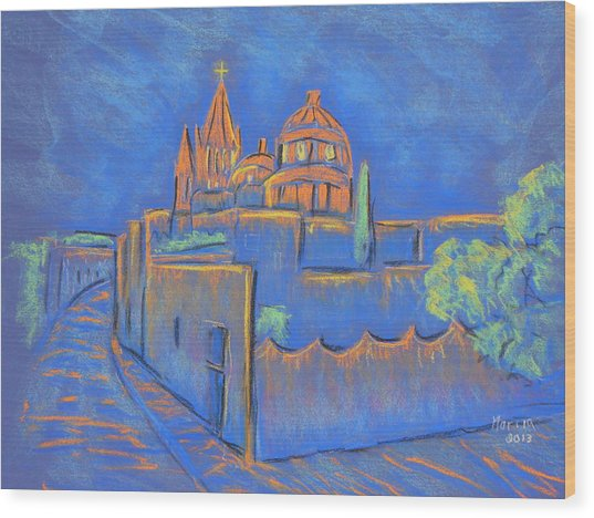 Cobblestones To The Basilica Wood Print by Marcia Meade