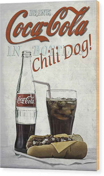 Wood Print featuring the photograph Coca-cola And Chili Dog by James Sage