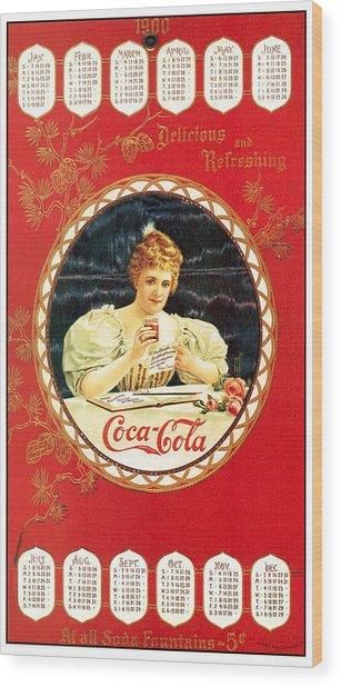 Coca - Cola Vintage Poster Calendar Wood Print