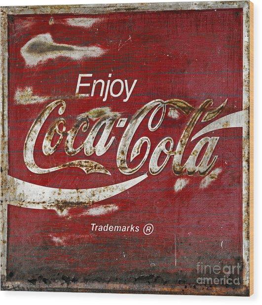 Coca Cola Wood Grunge Sign Wood Print