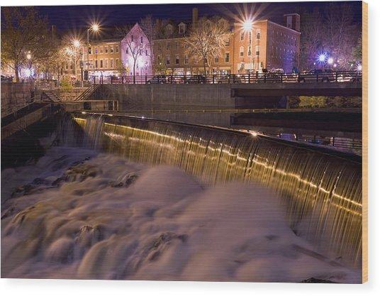 Cocheco River Falls Dover Nh Wood Print