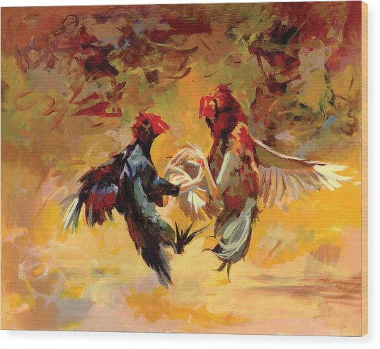 Cock Fight Wood Print