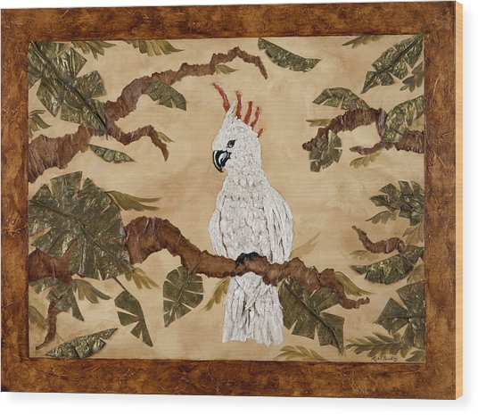 Cockatoo Out On A Limb Wood Print by Nickie Bradley