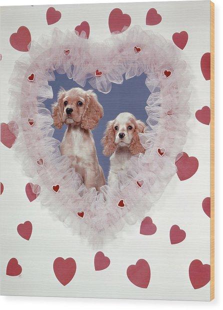 Cocker Spaniels Love Hearts Couple Wood Print