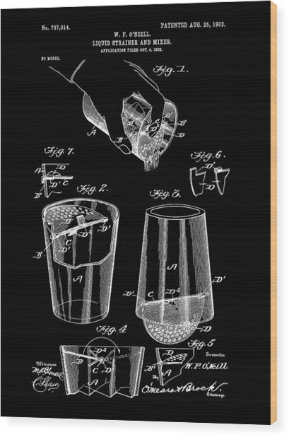 Cocktail Mixer And Strainer Patent 1902 - Black Wood Print
