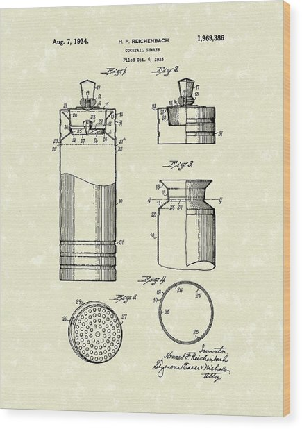 Cocktail Shaker 1934 Patent Art Wood Print