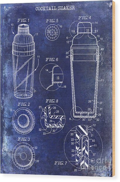 Cocktail Shaker Patent Drawing Blue Wood Print