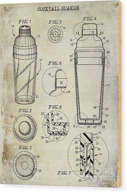 Cocktail Shaker Patent Drawing Wood Print