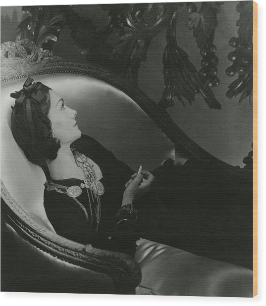 Coco Chanel On A Chaise Longue Wood Print by Horst P. Horst