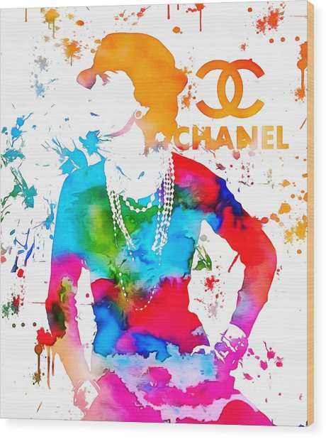 Coco Chanel Paint Splatter Wood Print