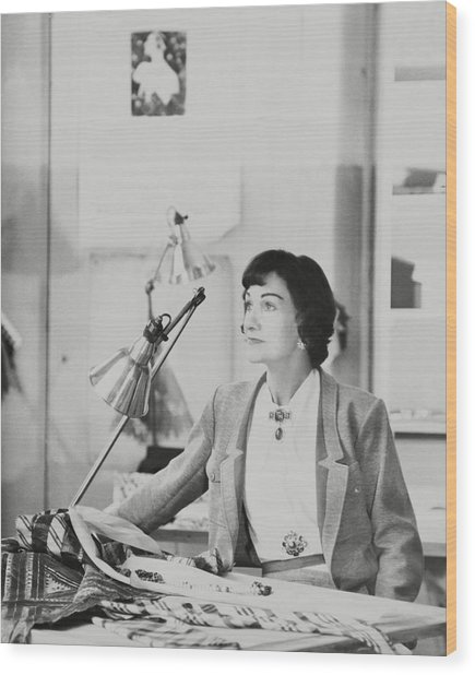 Coco Chanel Wearing A Jacket Wood Print