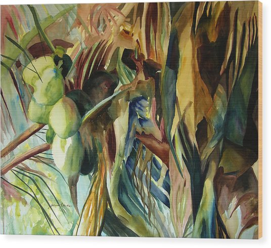 Coconuts And Palm Fronds 5-16-11 Julianne Felton Wood Print