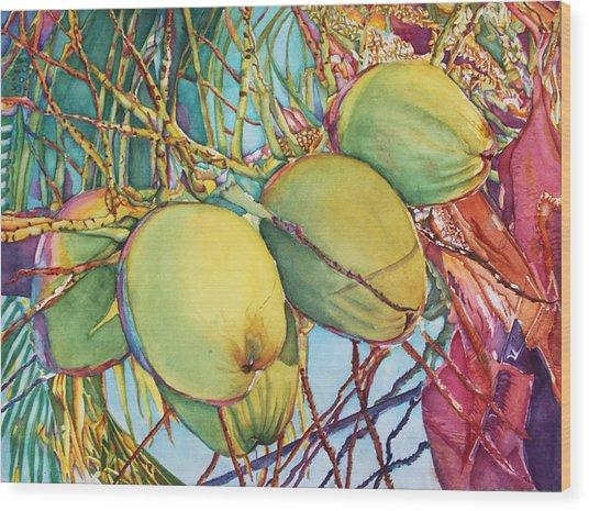 Coconuts At Sunset Wood Print