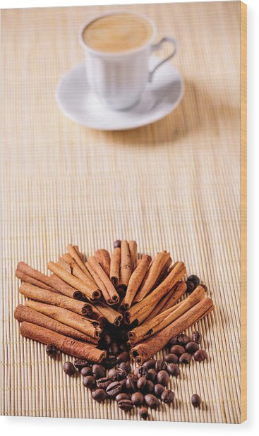 Coffee And Cinnamon Wood Print