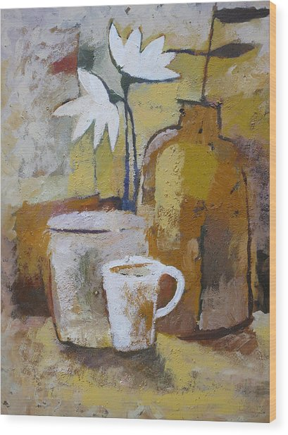Coffee And Flowers Wood Print