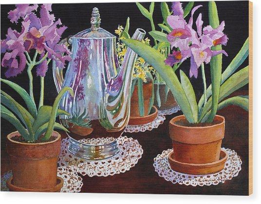 Coffee And Flowers Wood Print