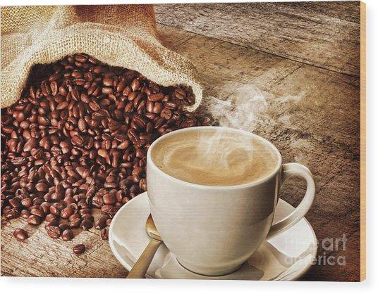 Coffee And Sack Of Coffee Beans Wood Print