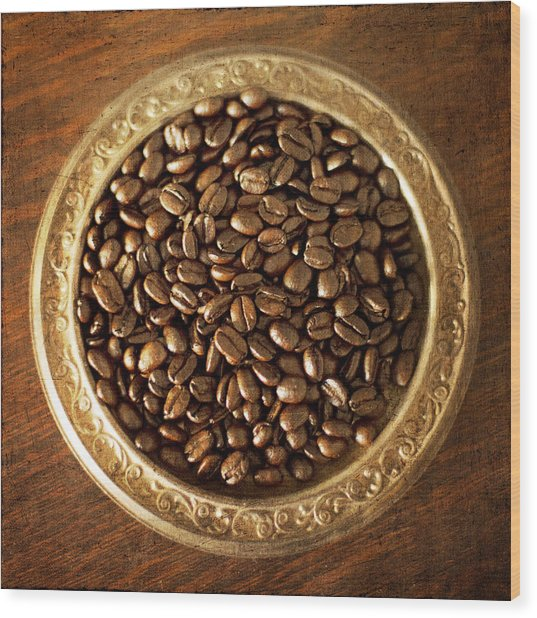 Coffee Beans On Antique Silver Platter Wood Print