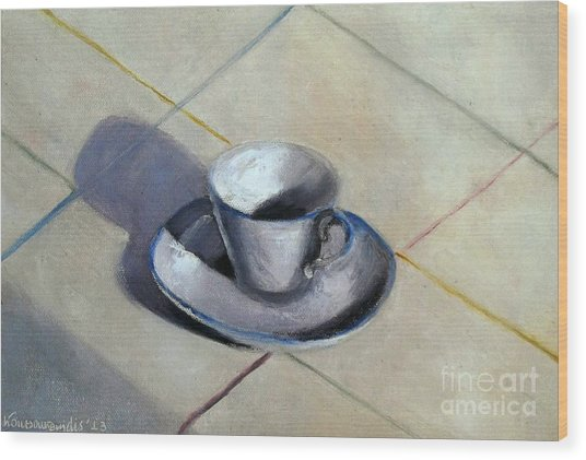 Coffee Cup Wood Print by Kostas Koutsoukanidis