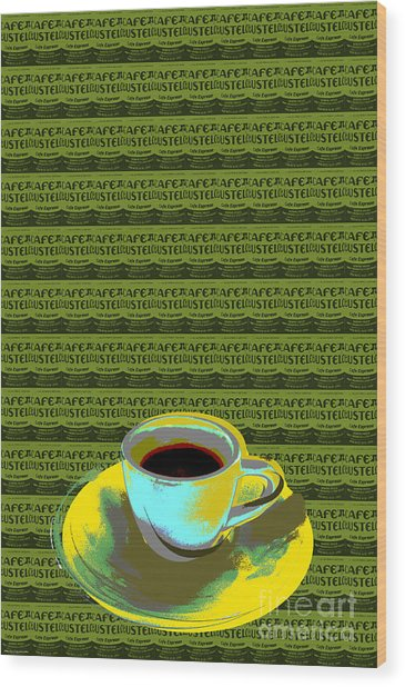 Coffee Cup Pop Art Wood Print