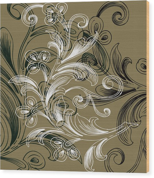 Coffee Flowers 4 Olive Wood Print