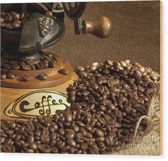 Coffee Grinder With Beans Wood Print