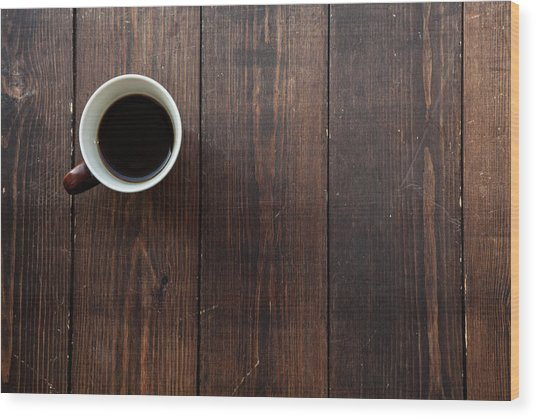 Coffee In A Mug On A Wooden Floor Wood Print