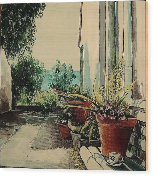 Coffee In The Street Wood Print by Anne Parker