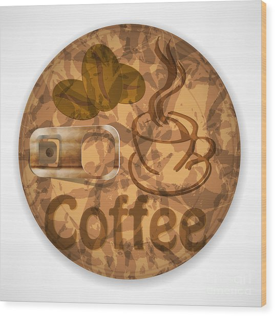 Coffee Lid Isolated On White Background Wood Print