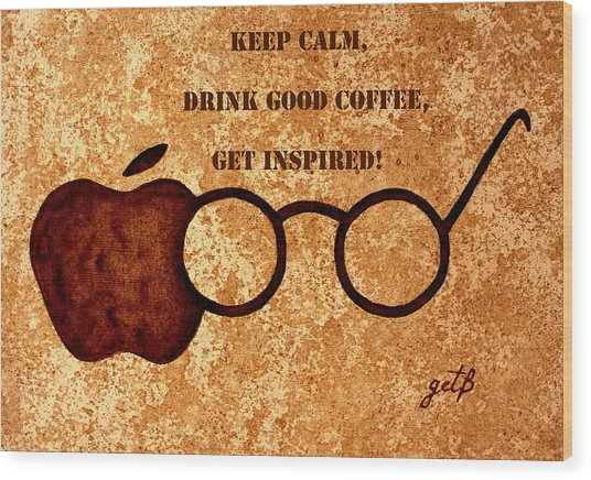 Coffee Lovers Quote 2 Wood Print