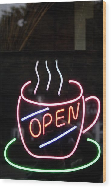Coffee Shop Neon Sign Wood Print