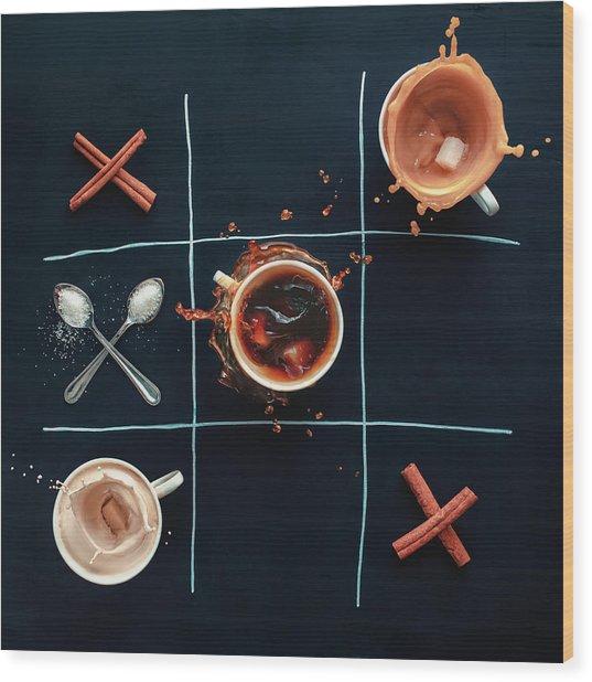 Coffee Tic-tac-toe Wood Print by Dina Belenko Photography