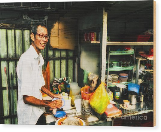 Coffee Vendor On South East Asian Street Stall Wood Print