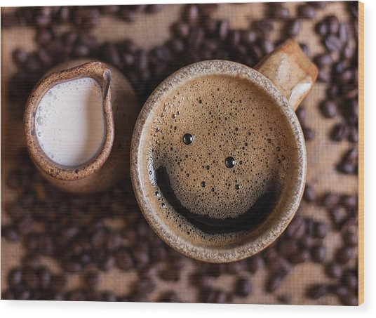 Coffee With A Smile Wood Print