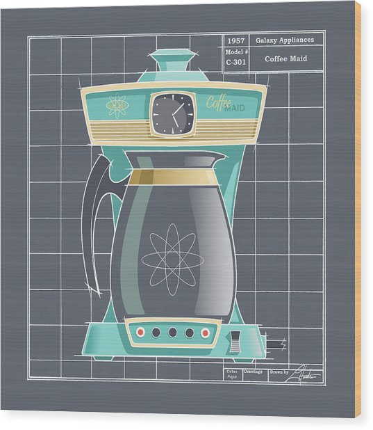 Coffeemaid -aqua Wood Print