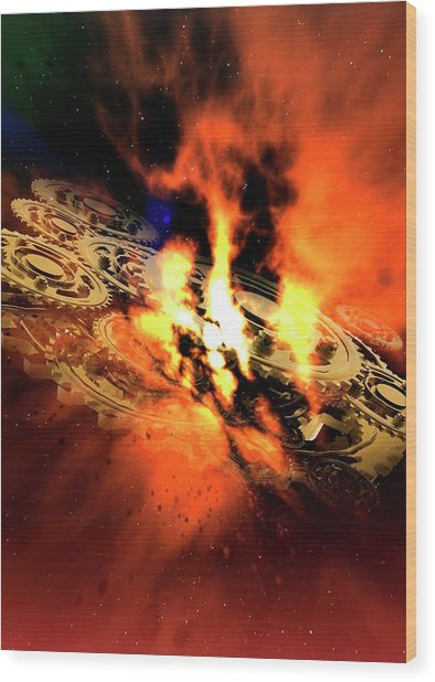 Cogs And Flames Wood Print by Victor Habbick Visions/science Photo Library
