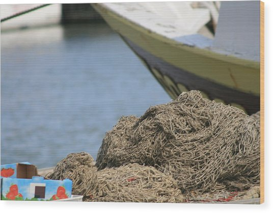 Coiled Fisherman's Net Wood Print