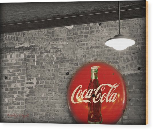 Coke Cola Sign Wood Print