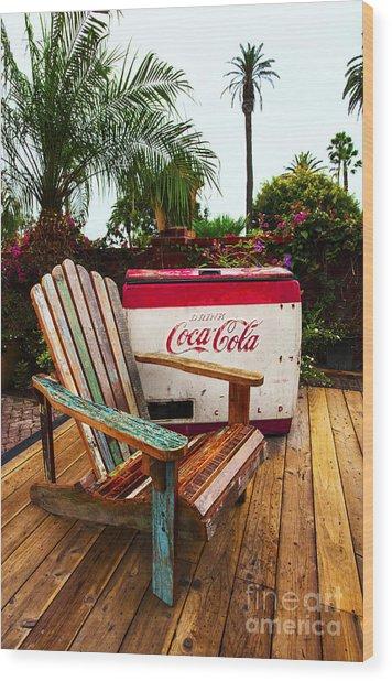 Vintage Coke Machine With Adirondack Chair Wood Print