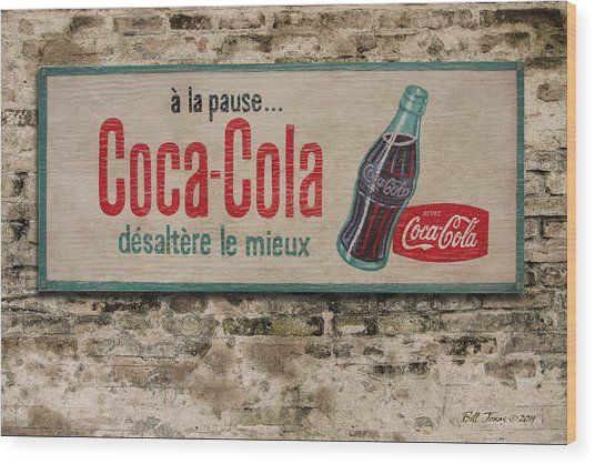 Cola Sign Wood Print by Bill Jonas