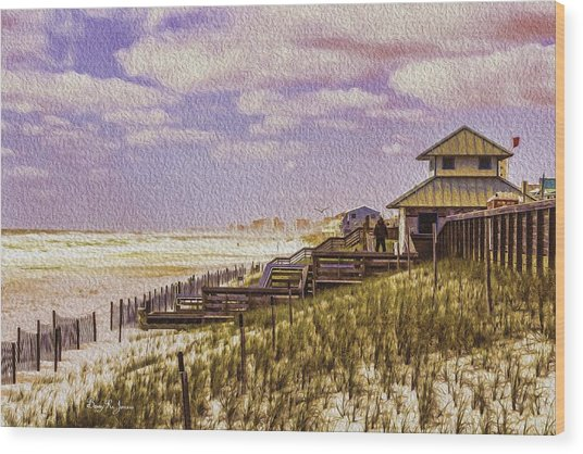 Waterfront - Coastal - Cold And Windy At The Beach Wood Print by Barry Jones
