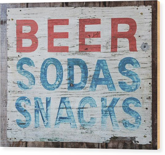 Cold Beer Sign Wood Print