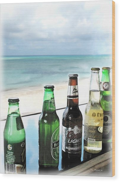 Cold Beers In Paradise Wood Print