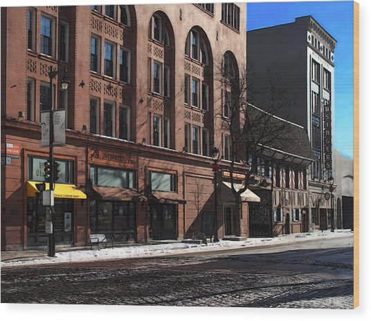 Cold Clear Morning On Old World 3rd Street In Milwaukee Wisconsin Wood Print by David Blank