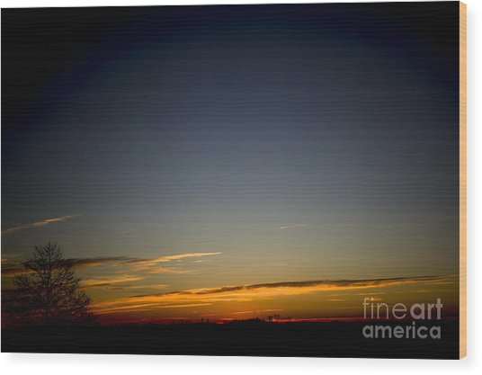 Cold Morning Sunrise Wood Print