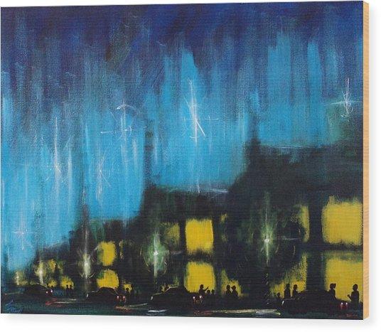 Cold Nights Warm Lights Wood Print