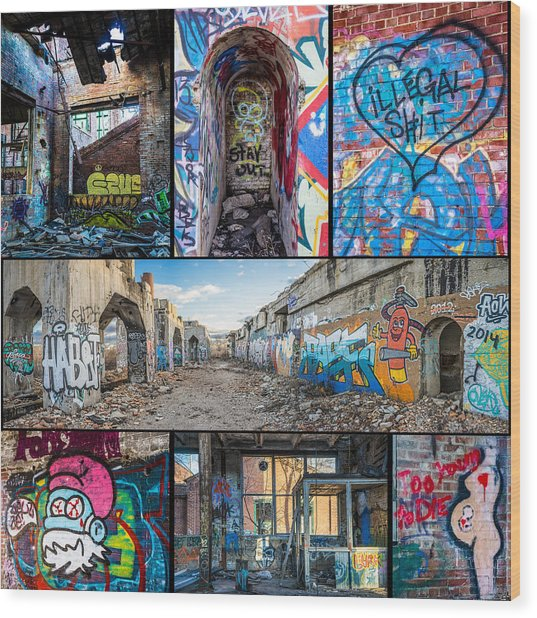 Wood Print featuring the photograph Collage Of Graffiti by Steven Santamour