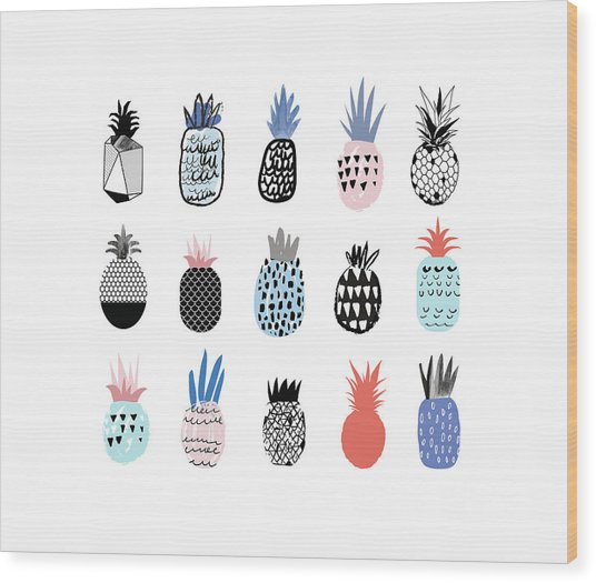Collection Of Cute Pineapples With Wood Print by Loliputa