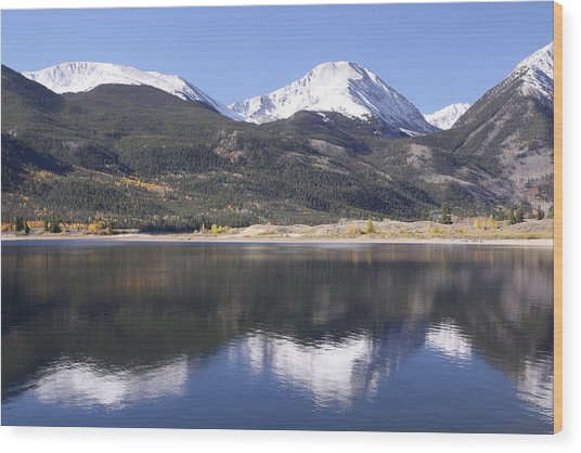 Collegiate Peaks Reflected Wood Print